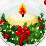 рецепт новогоднего салата - свеча