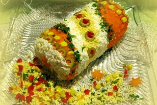 рецепт новогоднего салата - хлопушка