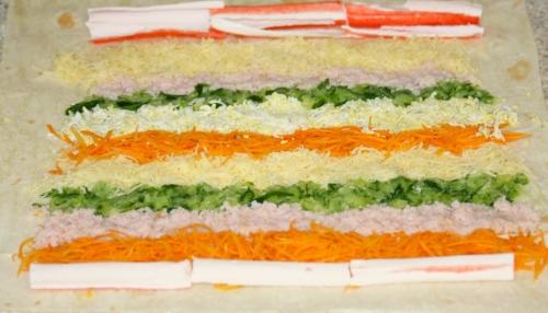 холодные закуски с крабовыми палочками фото