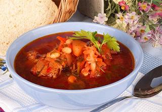 рецепт борща из свинины с фасолью